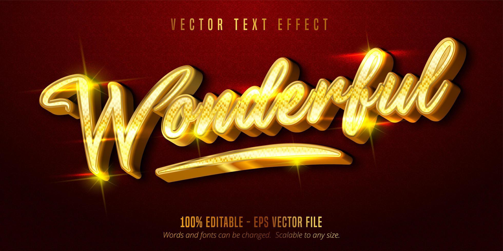 meraviglioso effetto di testo modificabile in stile dorato lucido vettore