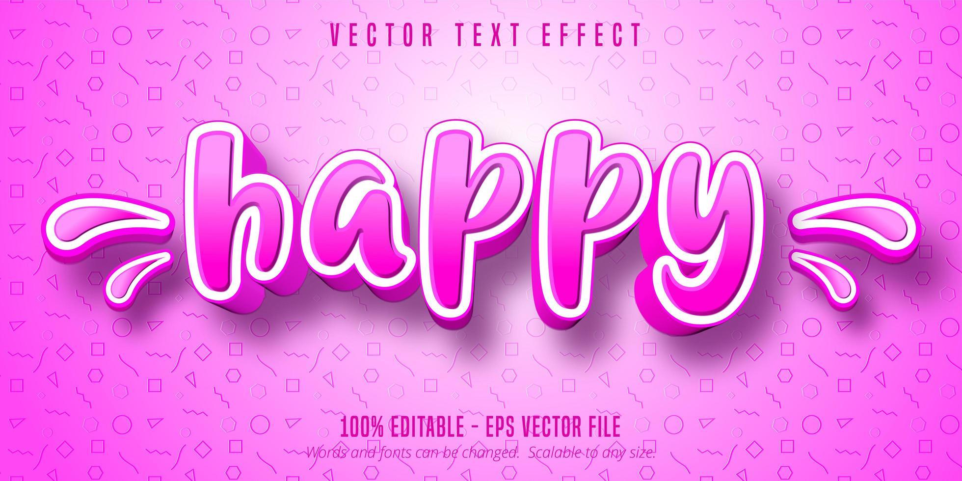 effetto di testo modificabile in stile cartone animato felice rosa e bianco vettore