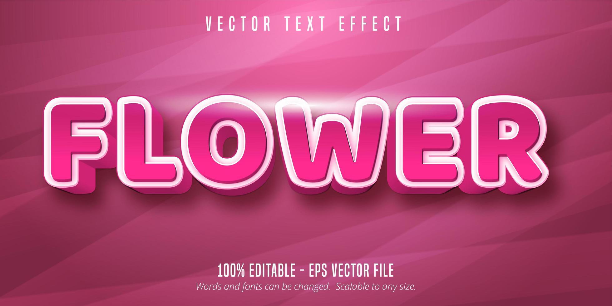 effetto di testo modificabile di colore rosa fiore vettore