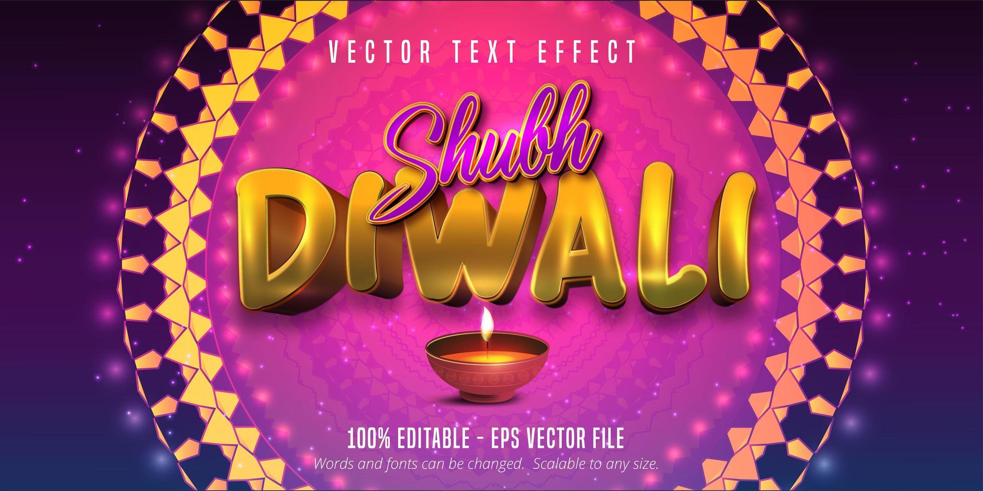 testo shubh diwali, effetto di testo modificabile in stile tradizionale vettore