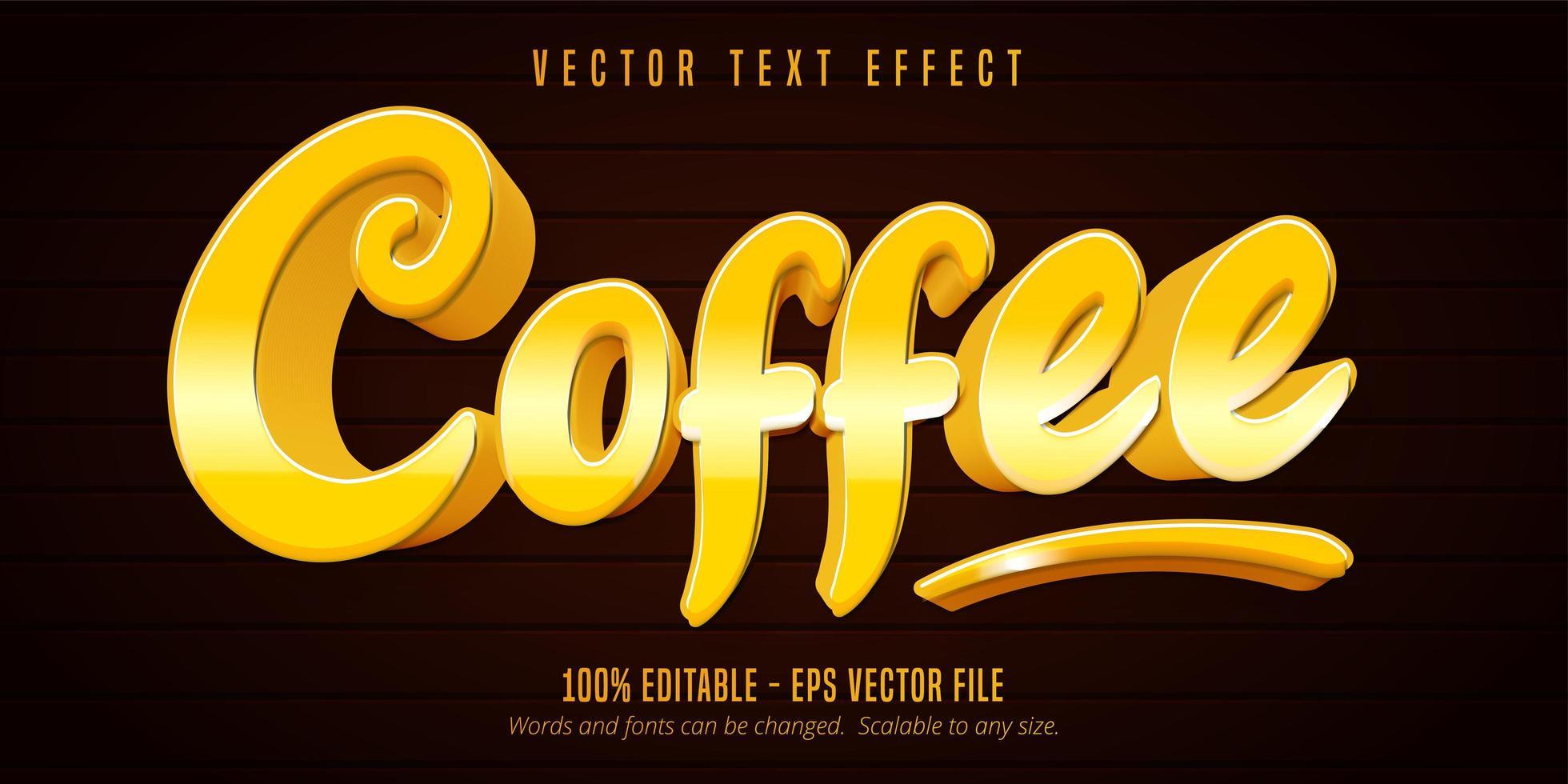 effetto di testo modificabile in stile cartone animato caffè dorato lucido vettore