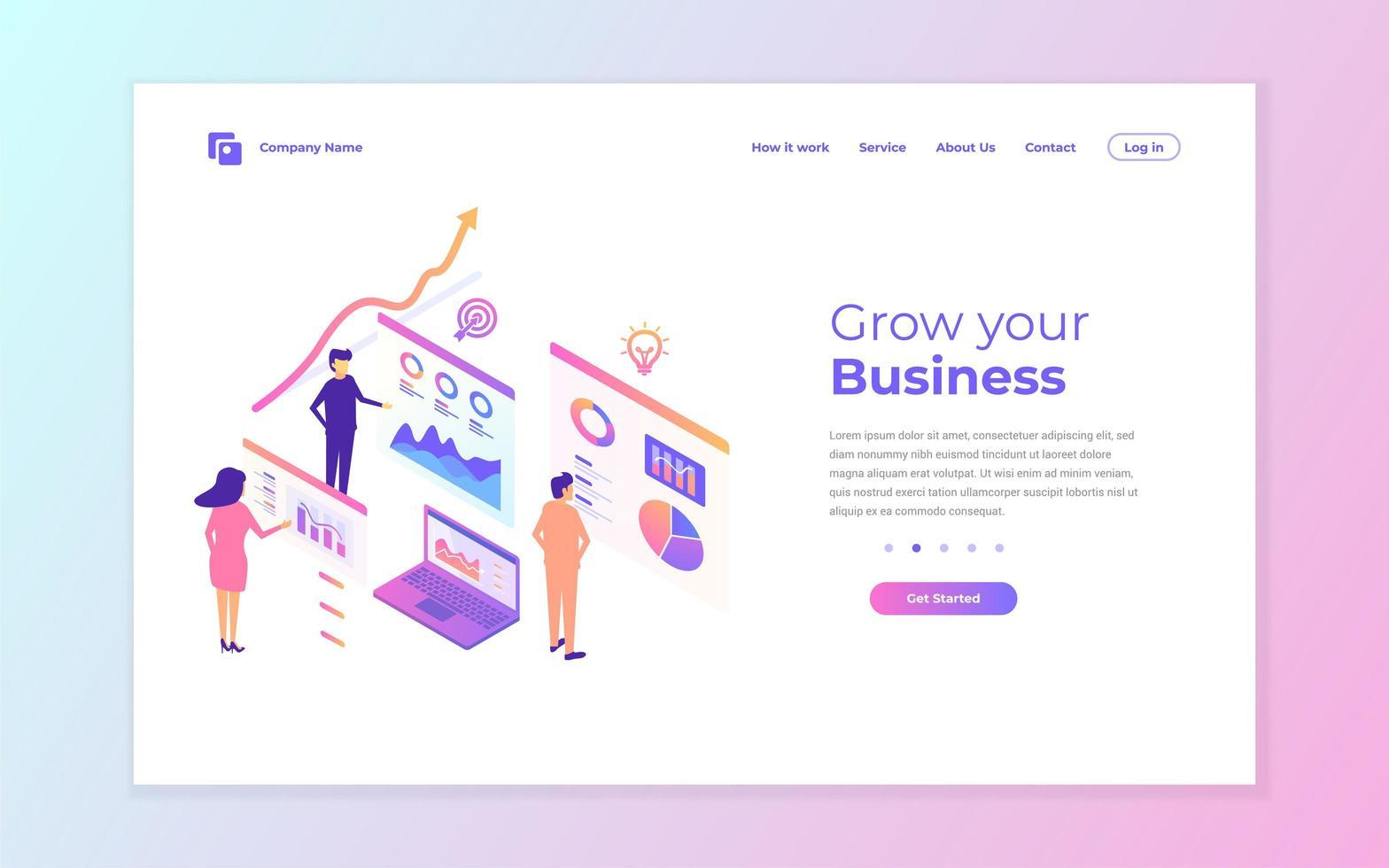 design della pagina di destinazione aziendale rosa e blu vettore
