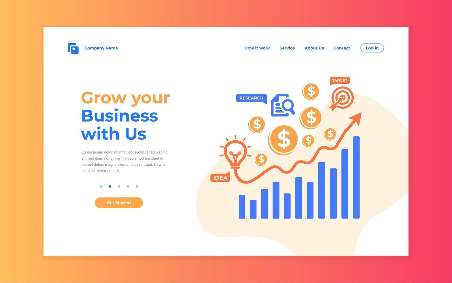 pagina di destinazione in crescita del business creativo vettore