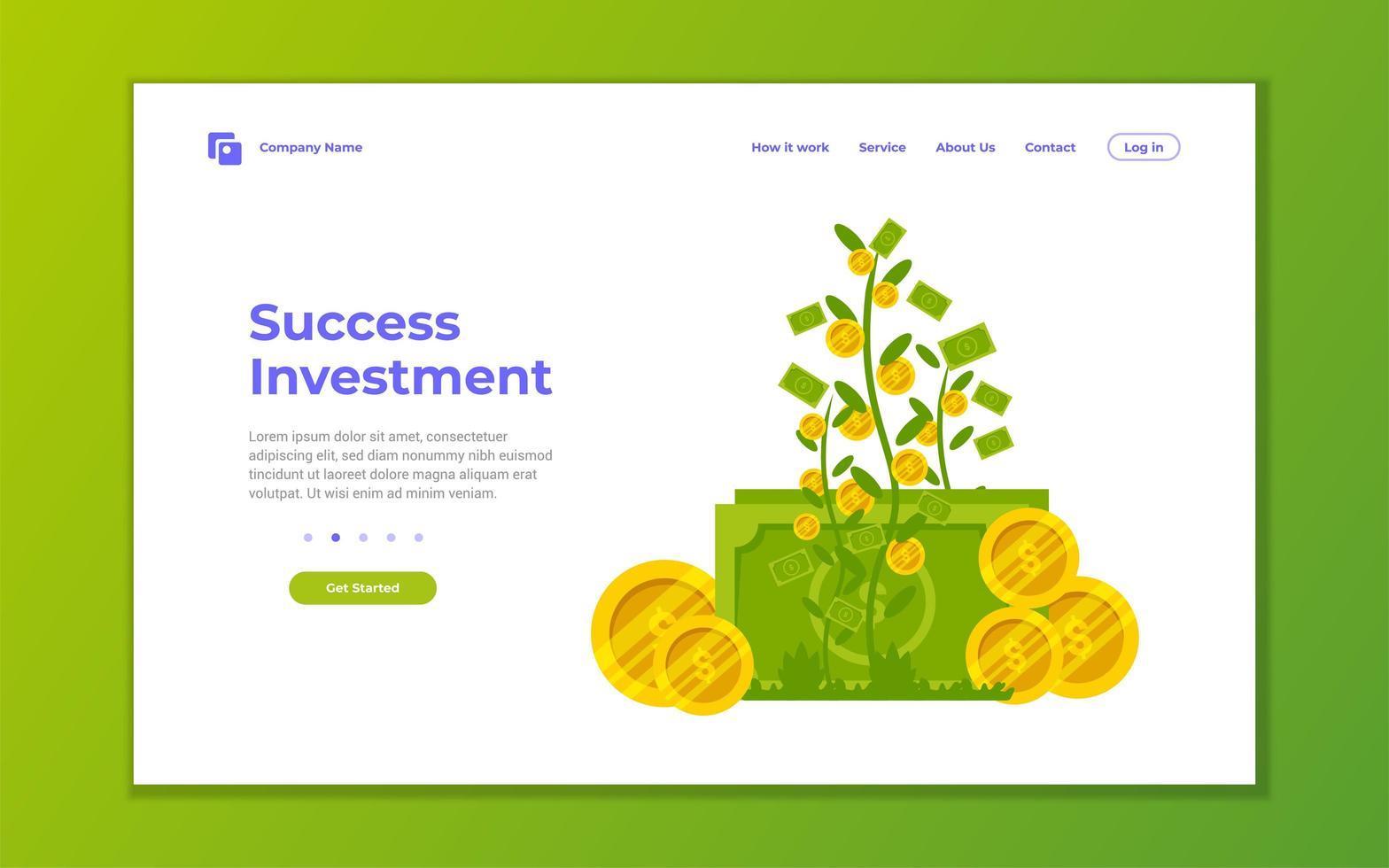 pagina di destinazione per investimenti, finanza e crescita aziendale vettore