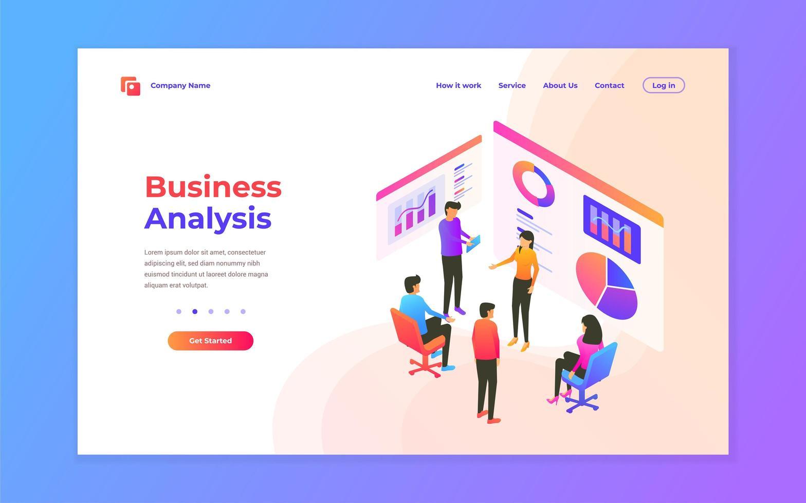 progettazione della pagina di destinazione dell'analisi aziendale vettore