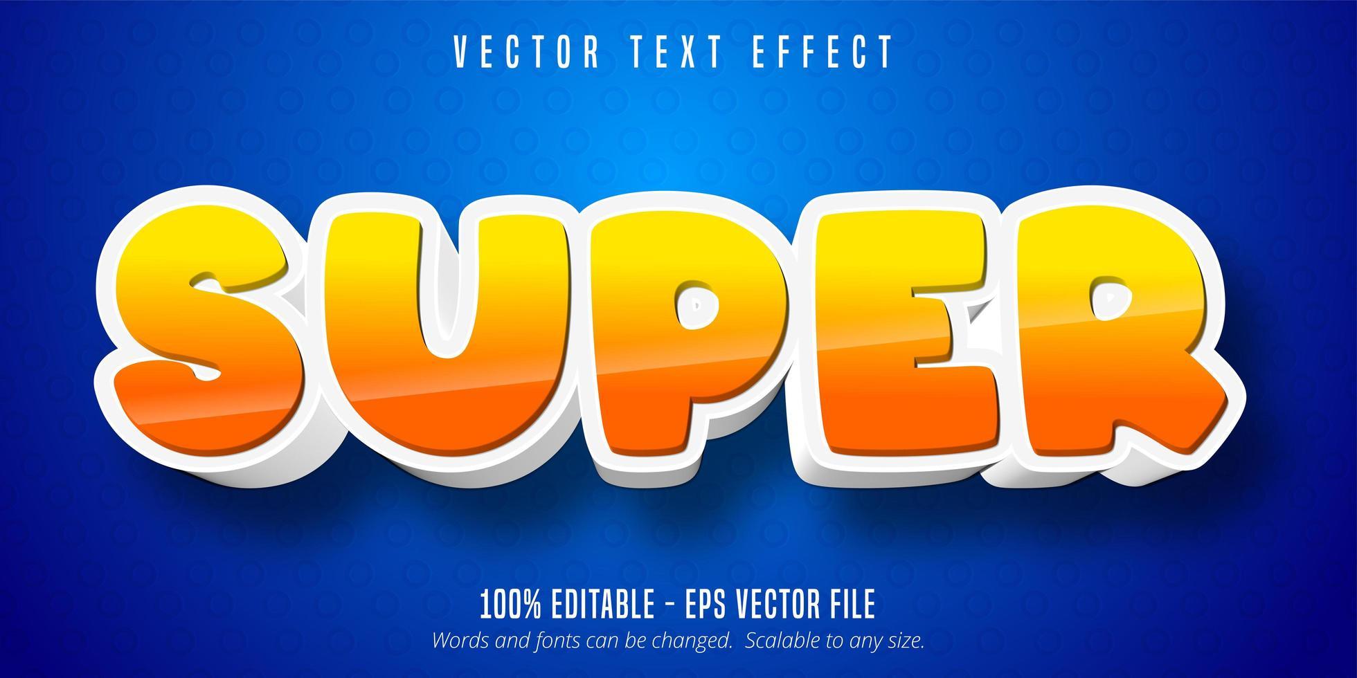 effetto di testo modificabile in stile super cartoon giallo e arancione vettore