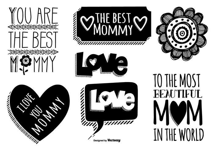 Etichette di festa della mamma disegnata a mano carina vettore