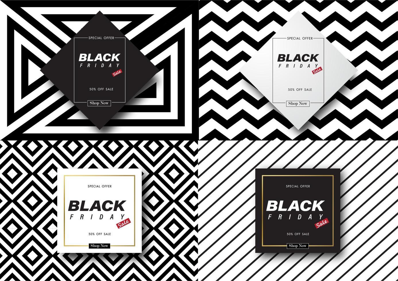 banner di vendita venerdì nero modello bianco e nero vettore