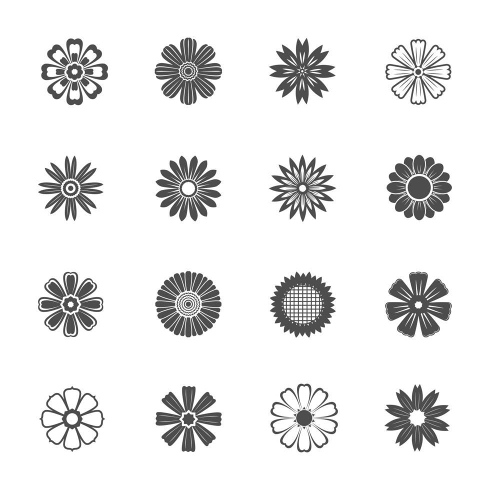 icone piane di fiori vettore