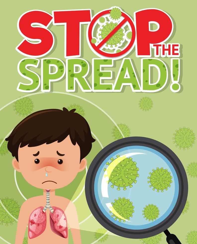 fermare il segno di diffusione del coronavirus vettore