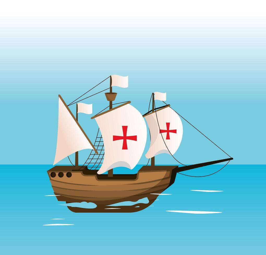 nave che naviga sul mare vettore