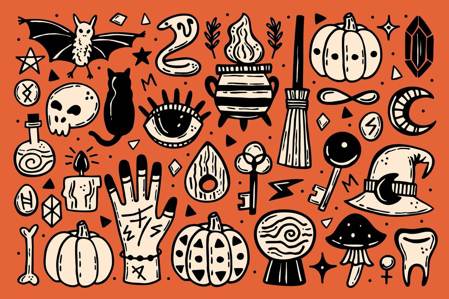 set di icone di halloween carino vettore