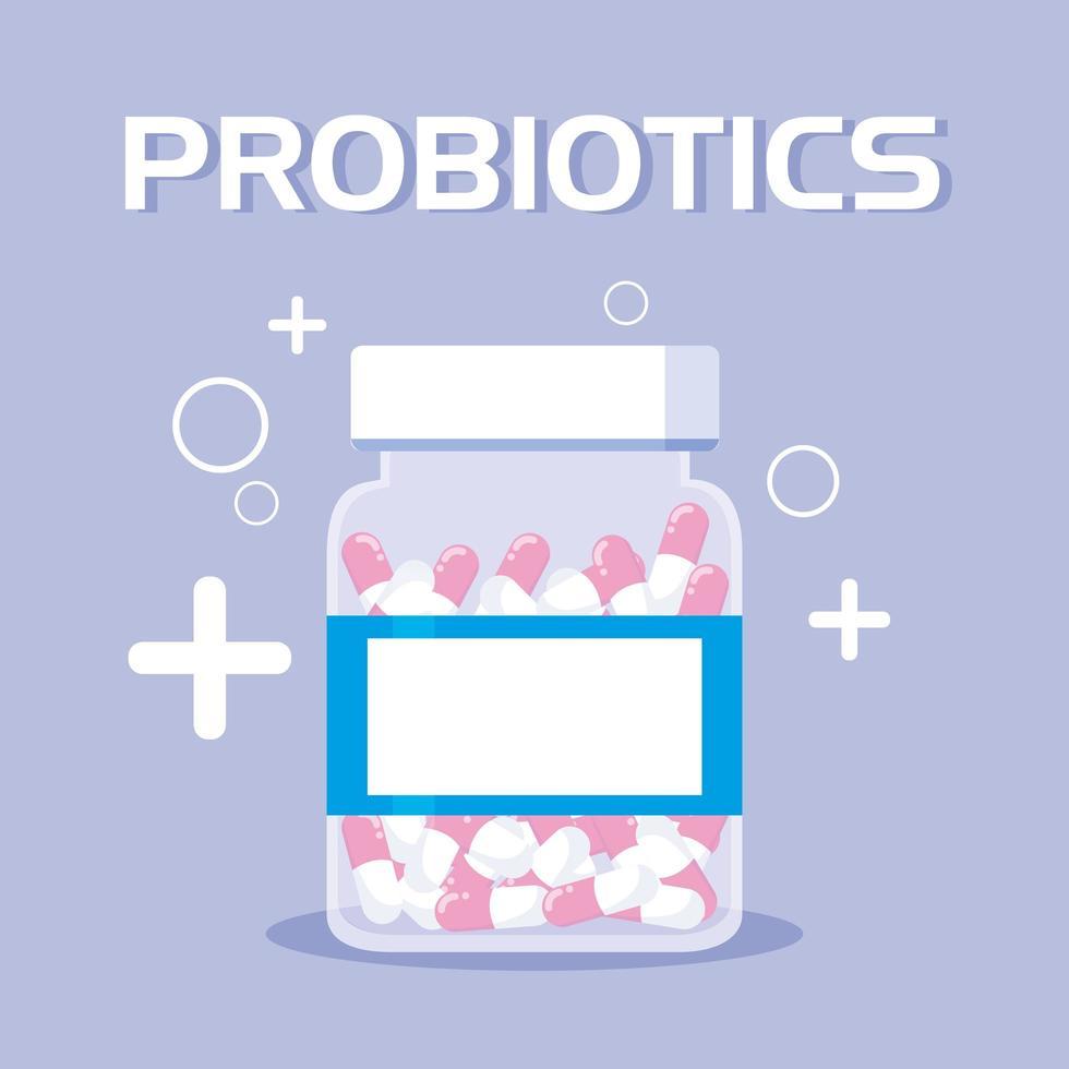bottiglia di medicinali probiotici icona vettore