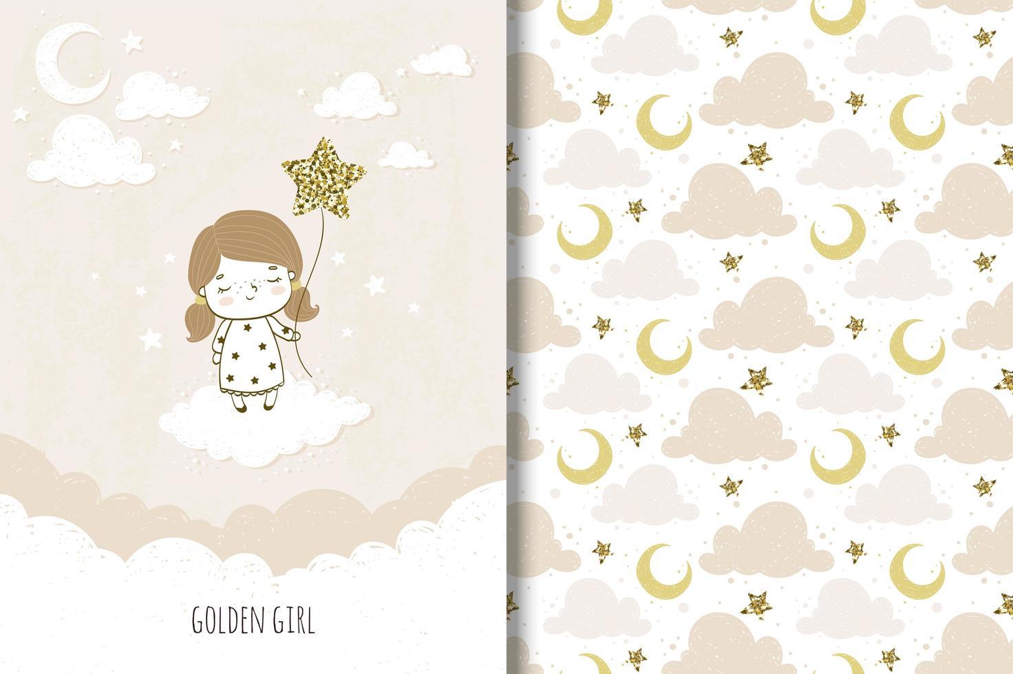 ragazza carina con palloncino stella e motivo a cielo notturno vettore