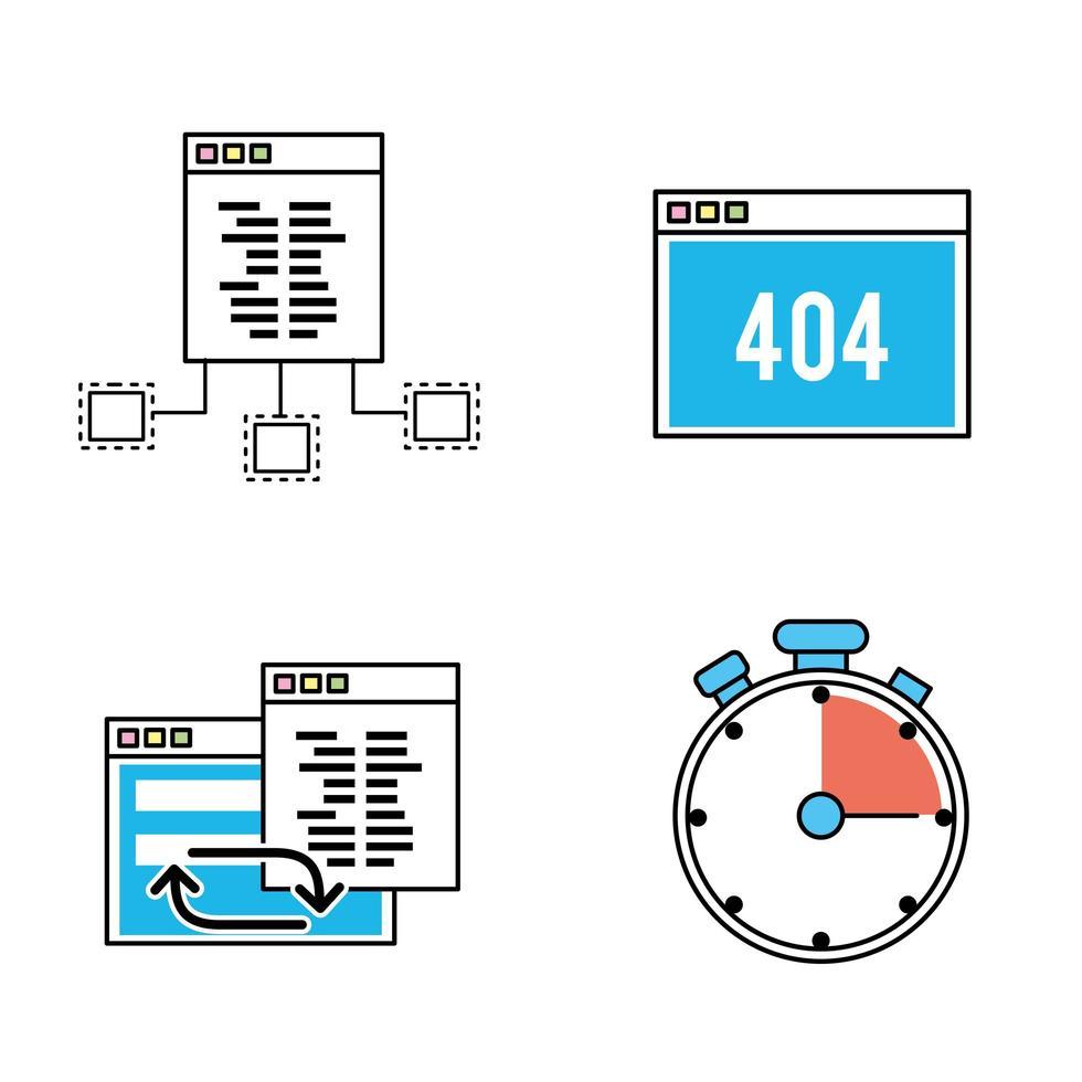 set di icone di programmazione e codifica vettore