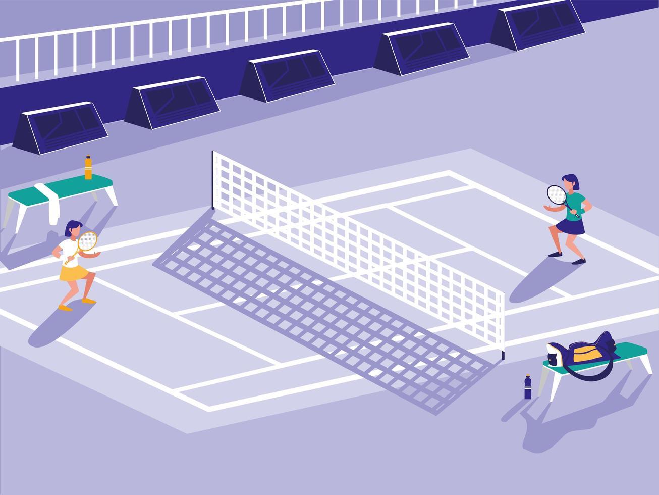 scena del campo sportivo da tennis vettore