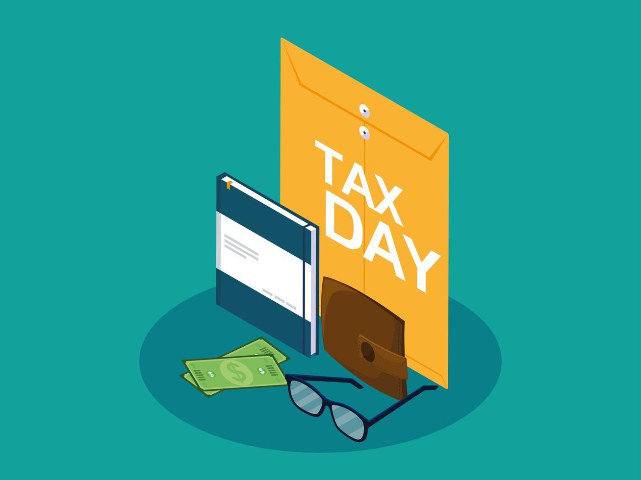 giorno delle tasse con busta di manila e icone del mondo vettore