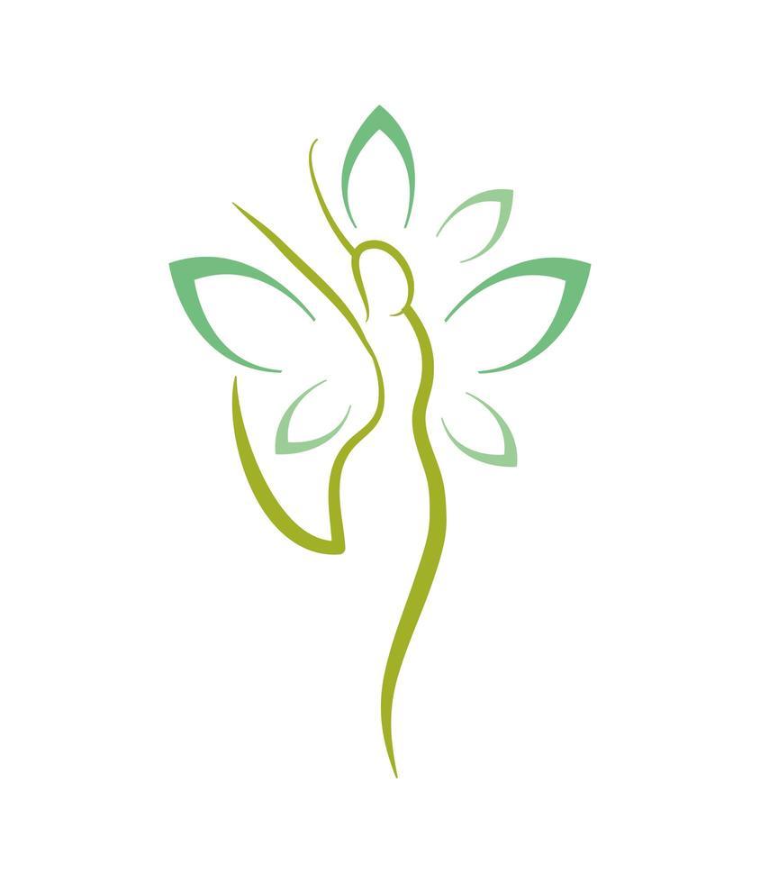silhouette donna con fiore vettore