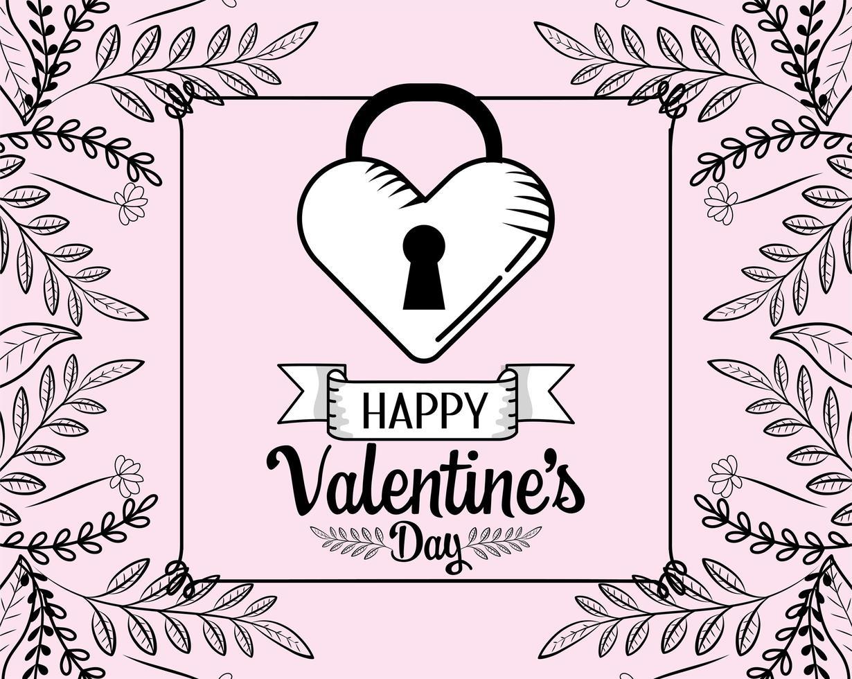 disegno del cuore bloccato di San Valentino vettore