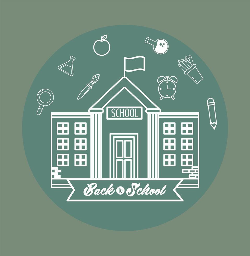 torna al design scolastico con edifici e icone vettore