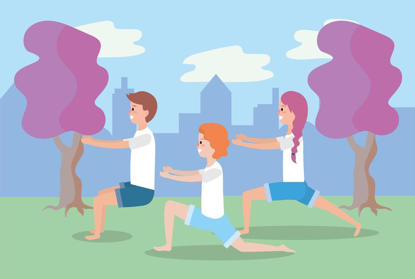 giovani che fanno yoga all'aperto vettore