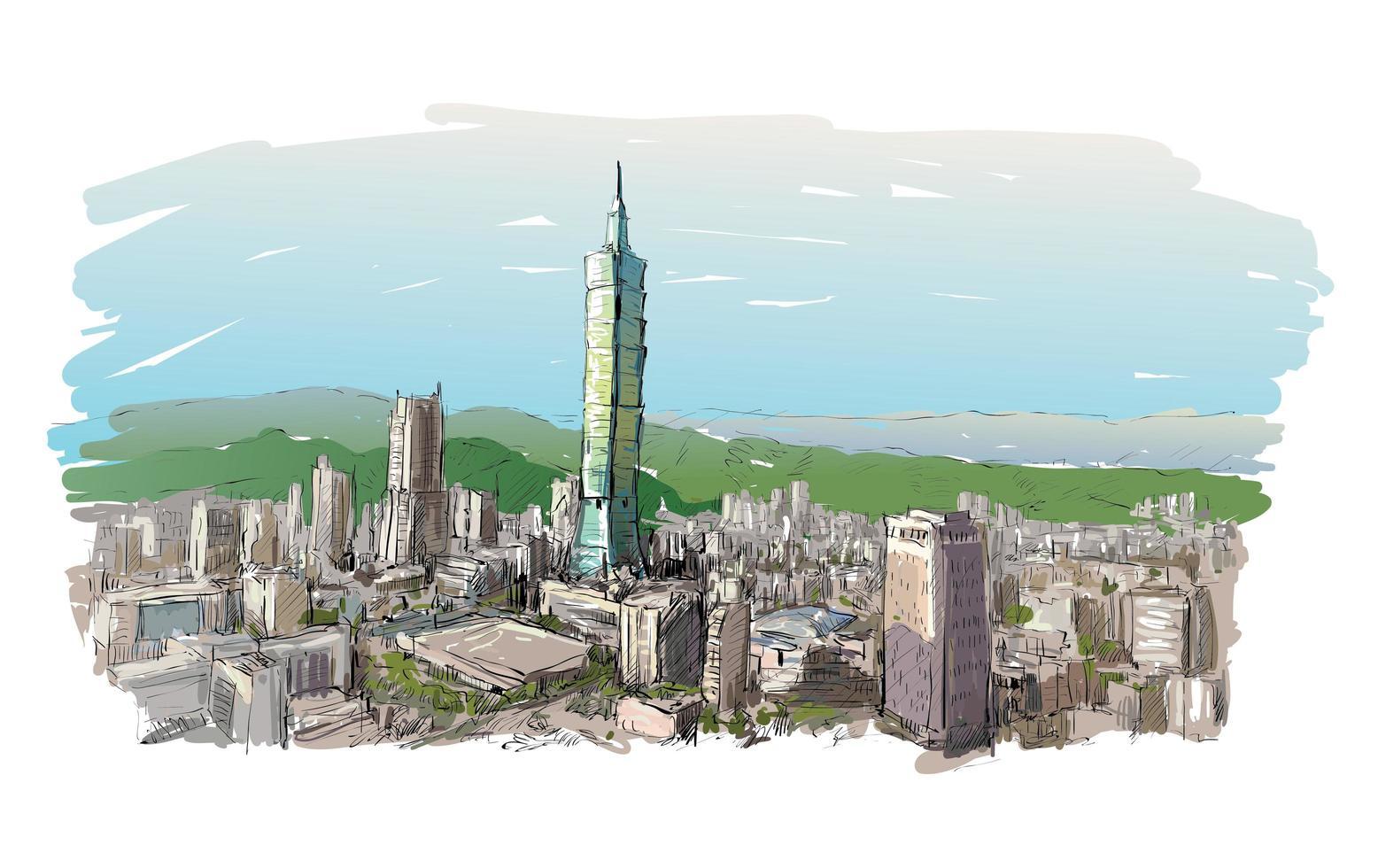 schizzo a colori del paesaggio urbano di taiwan con grattacieli vettore