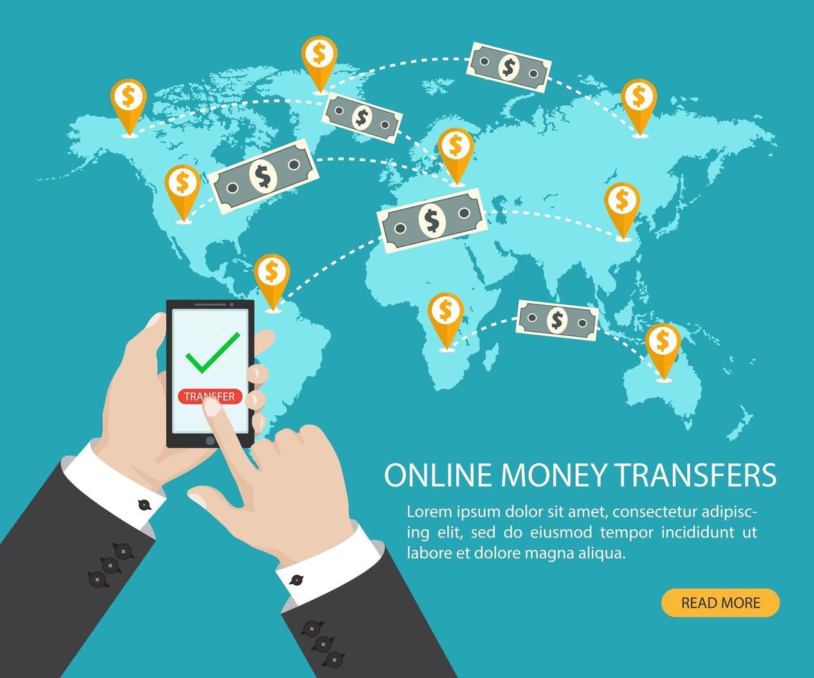 trasferimento di denaro online e transazione bancaria elettronica vettore