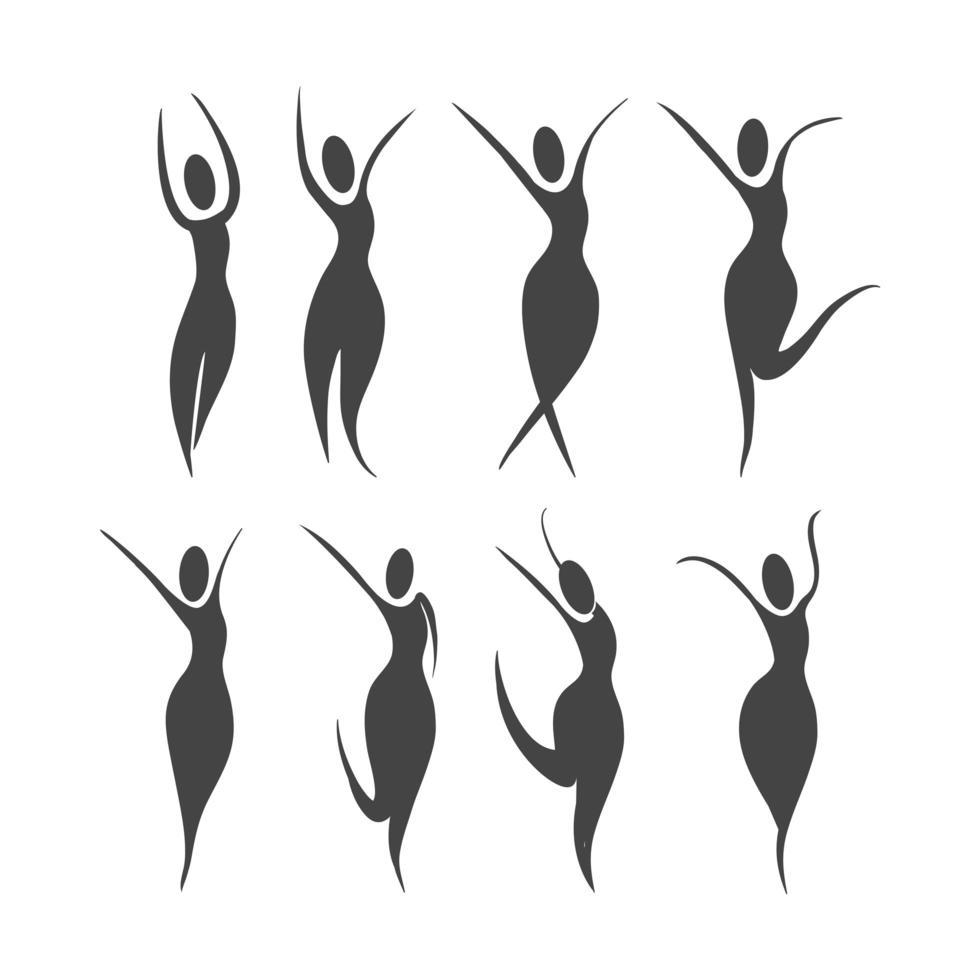set di sagome di donne in un concetto di benessere vettore
