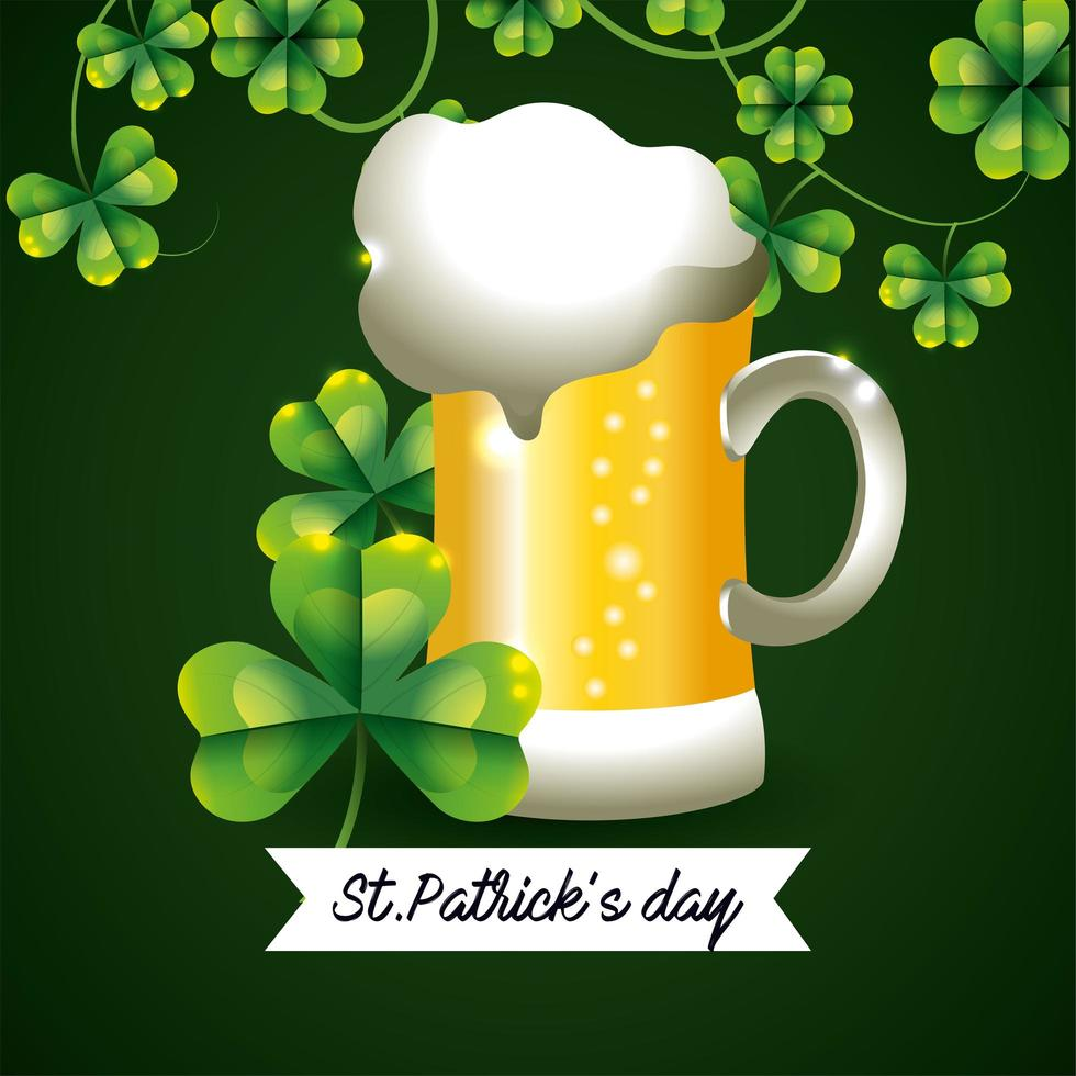 st. patrick day banner con un bicchiere di birra vettore