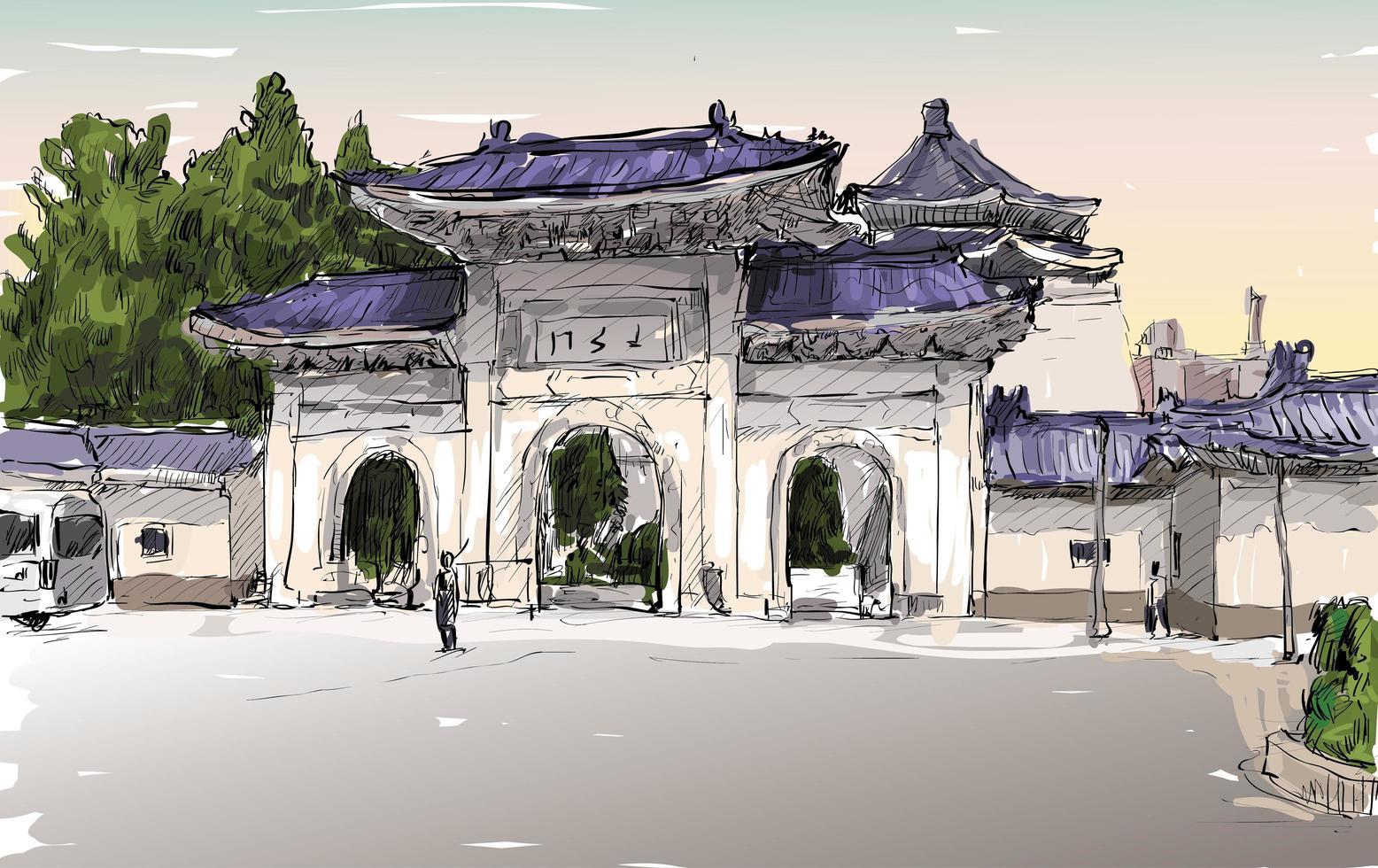 schizzo a colori di un paesaggio urbano asiatico vettore