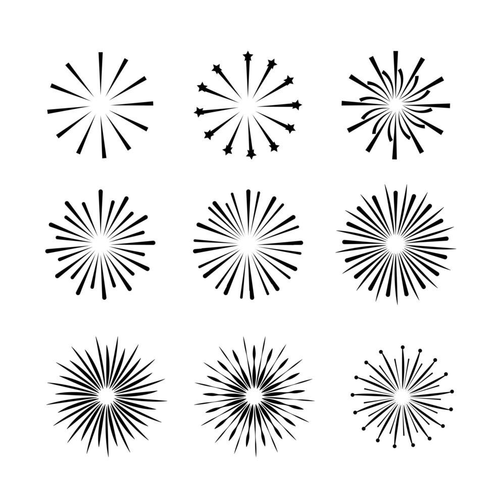set di icone di contorno di fuochi d'artificio vettore