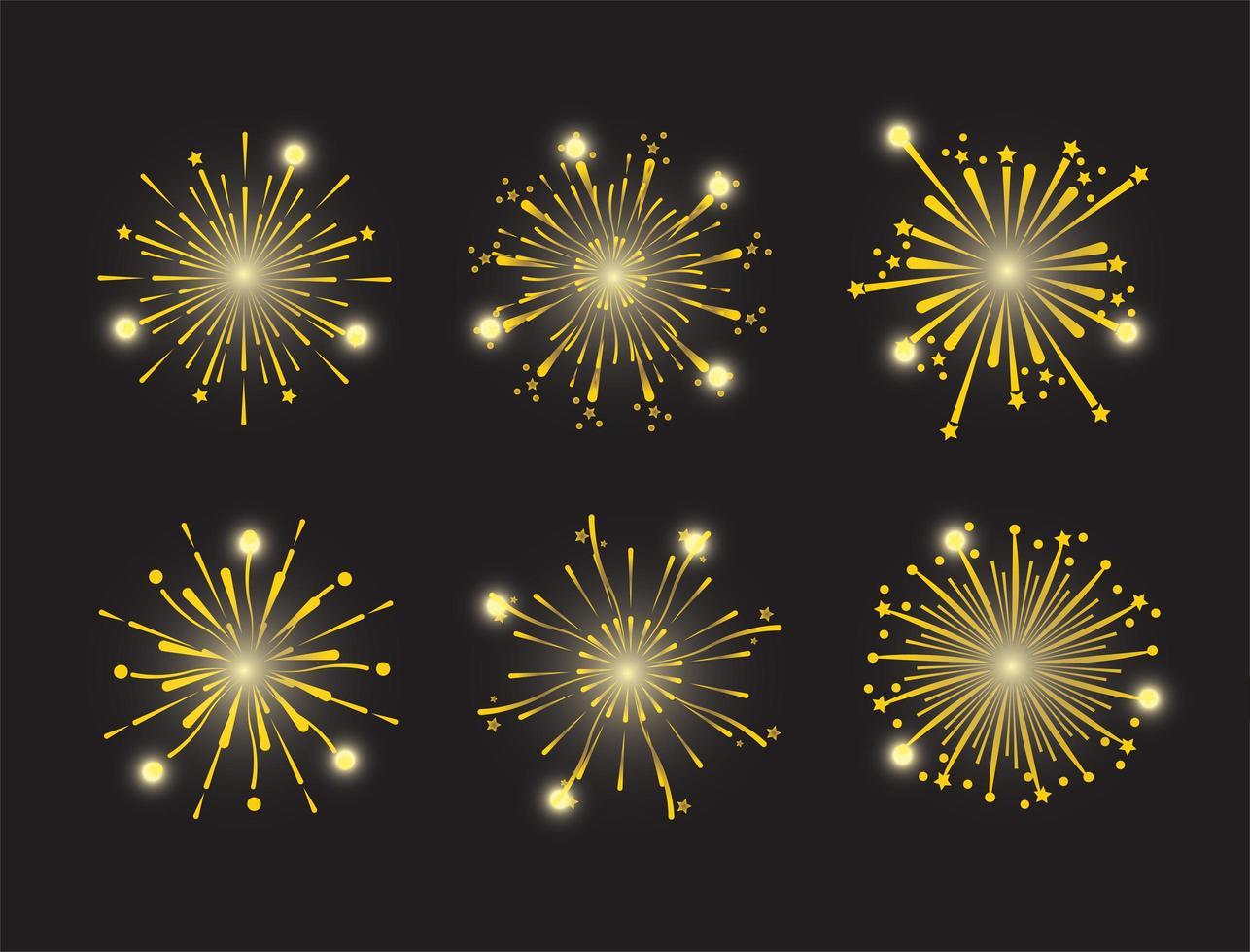 set di icone di fuochi d'artificio d'oro vettore