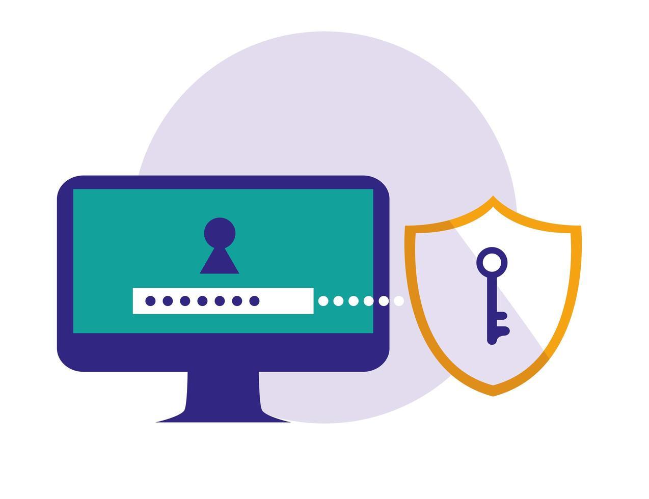 monitor con password e scudo vettore