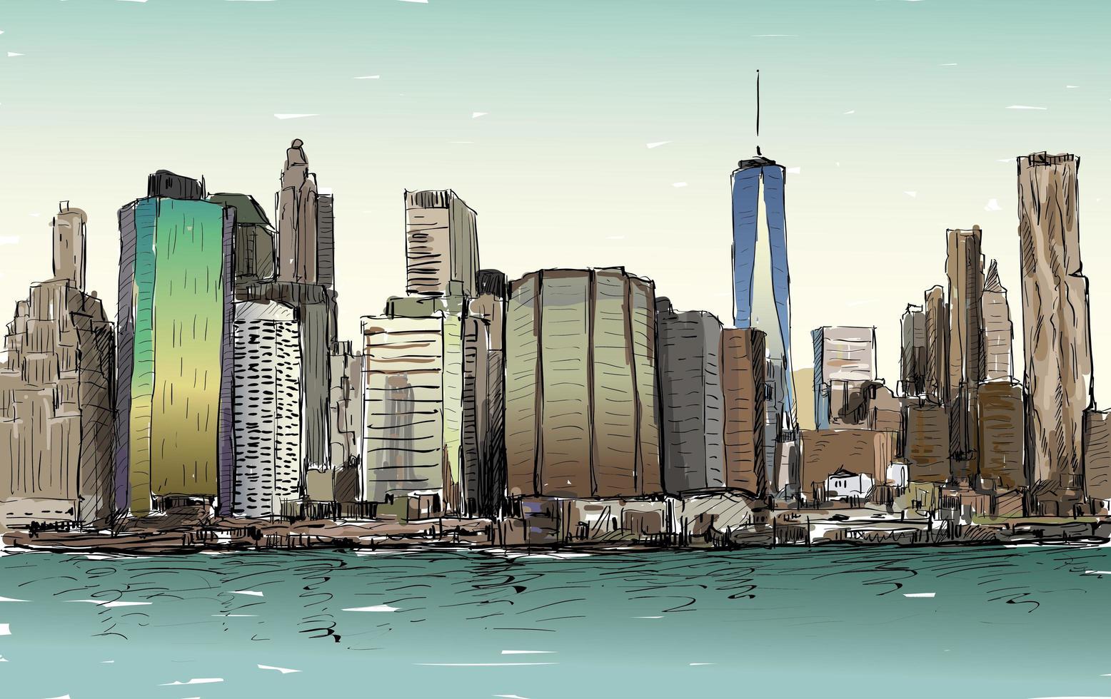 schizzo a colori del paesaggio urbano di new york city con grattacieli vettore