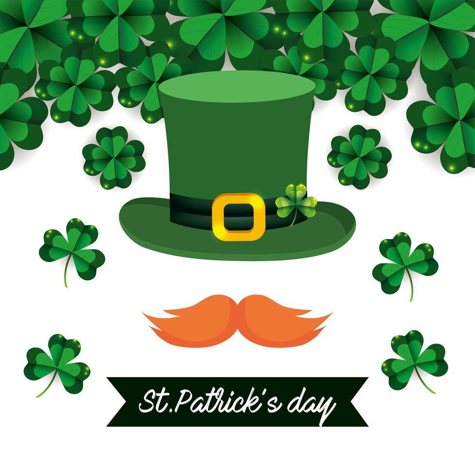 st. patrick day banner con un cappello a cilindro vettore
