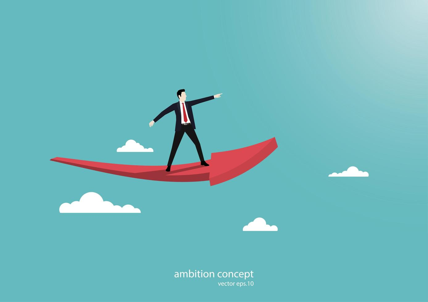 ambizione di affari con la freccia vettore