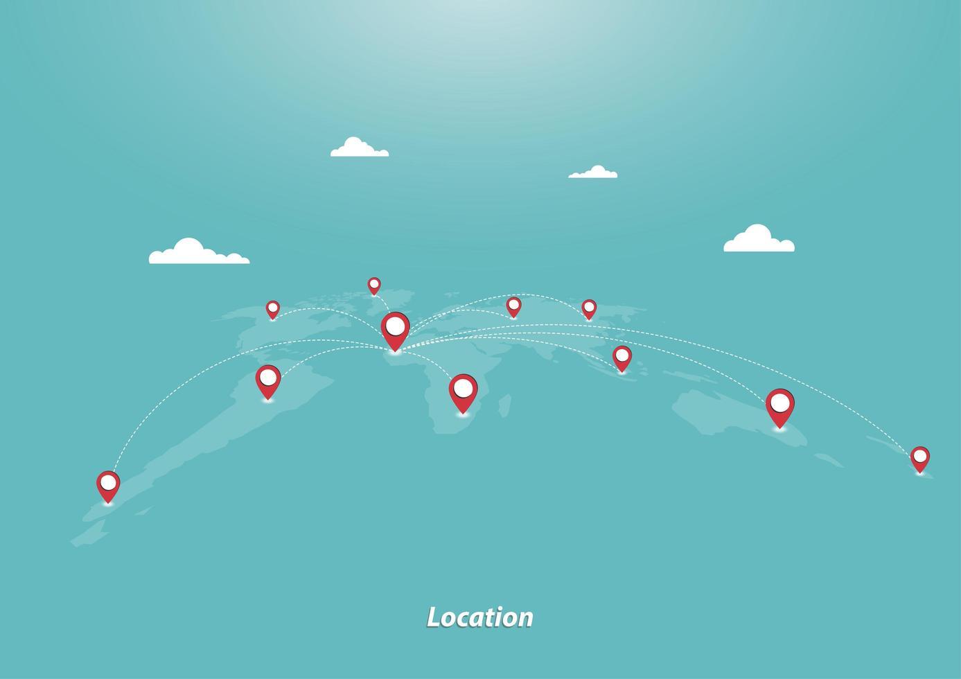 affari e geolocalizzazione vettore
