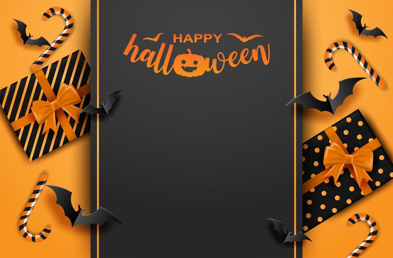 felice halloween con confezione regalo e pipistrelli. vettore