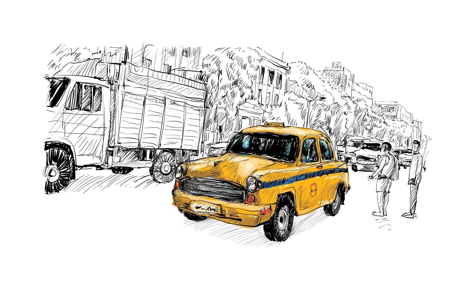 schizzo di un taxi in un paesaggio urbano vettore