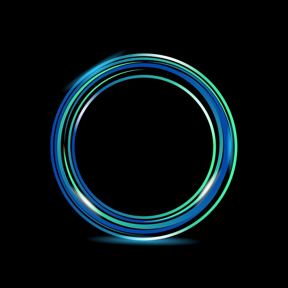disegno astratto anello luminoso cerchio luminoso su sfondo nero vettore