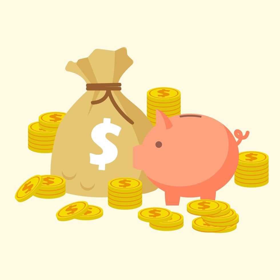 salvadanaio con monete d'oro e un sacco di soldi vettore