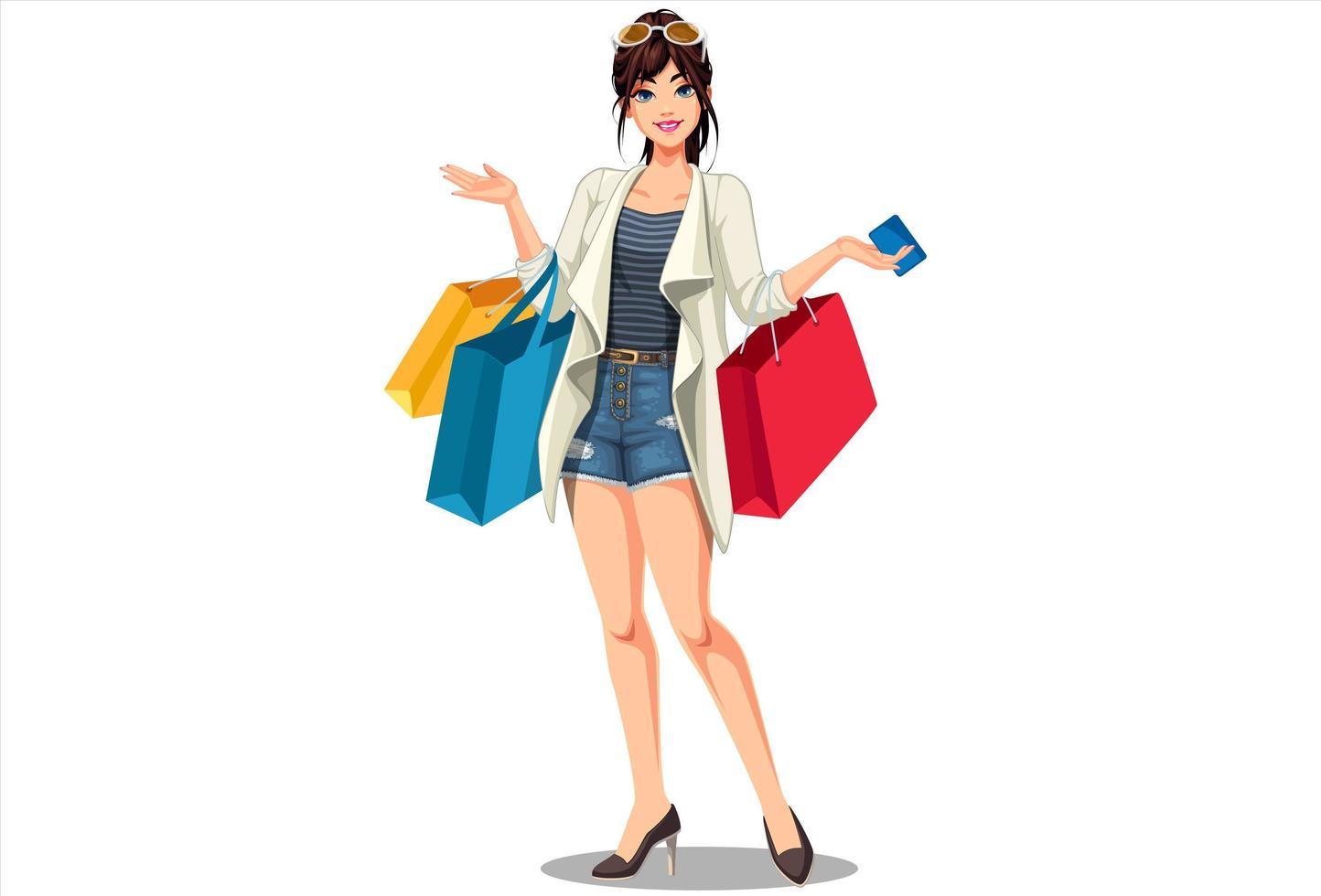 giovani belle donne dello shopping vettore