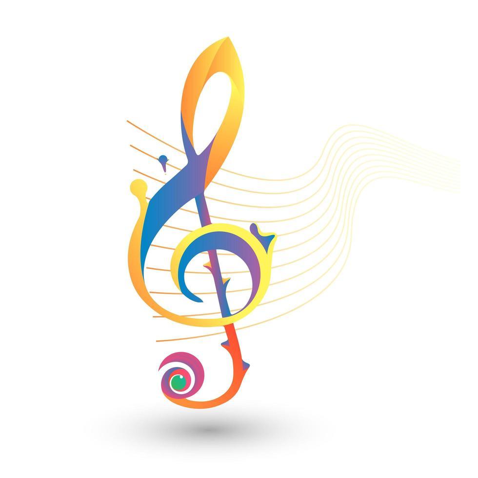 icona del tono di musica piena di colore vettore