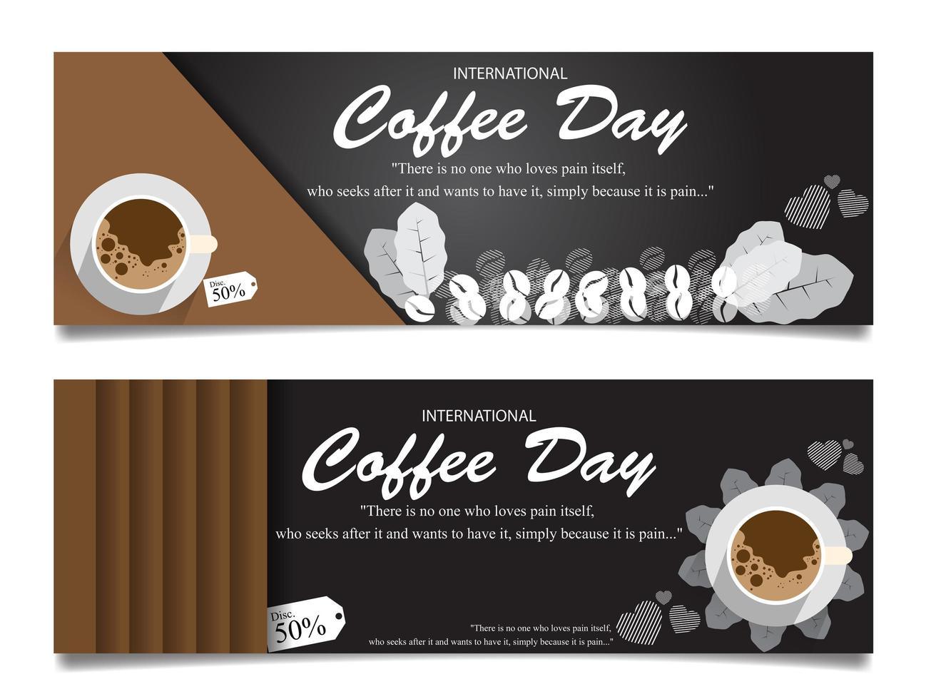 impostare banner per il giorno del caffè vettore