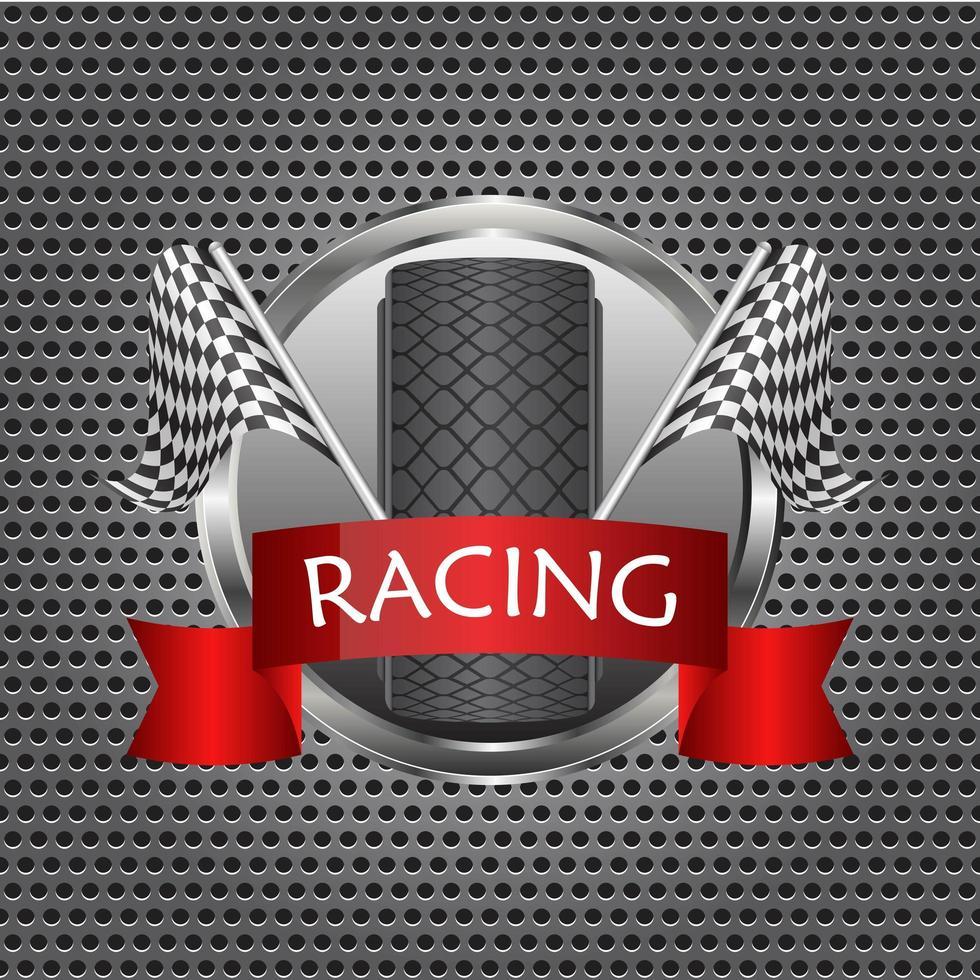 bandiere a scacchi da corsa con banner di pneumatici vettore
