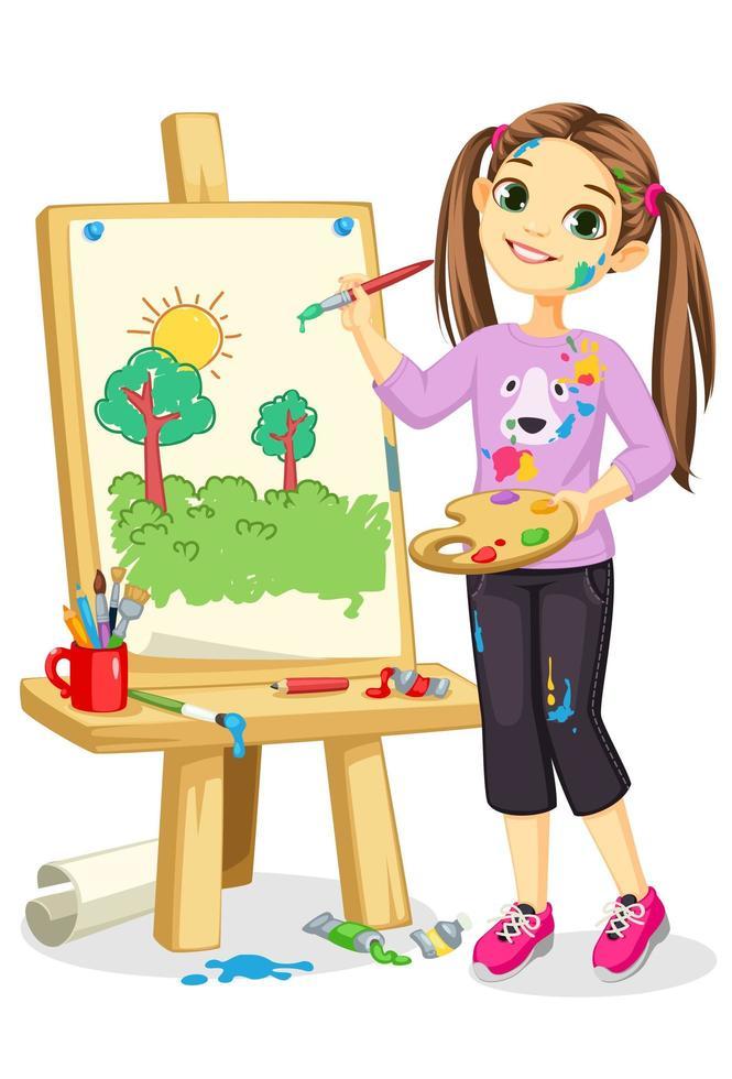 ragazza artista pittura su tela vettore