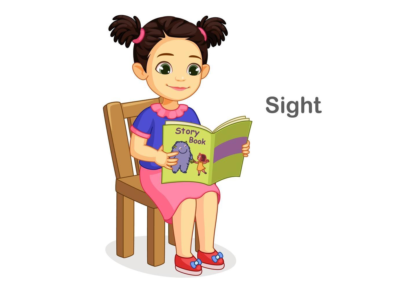 libro di lettura della ragazza che mostra il senso della vista vettore