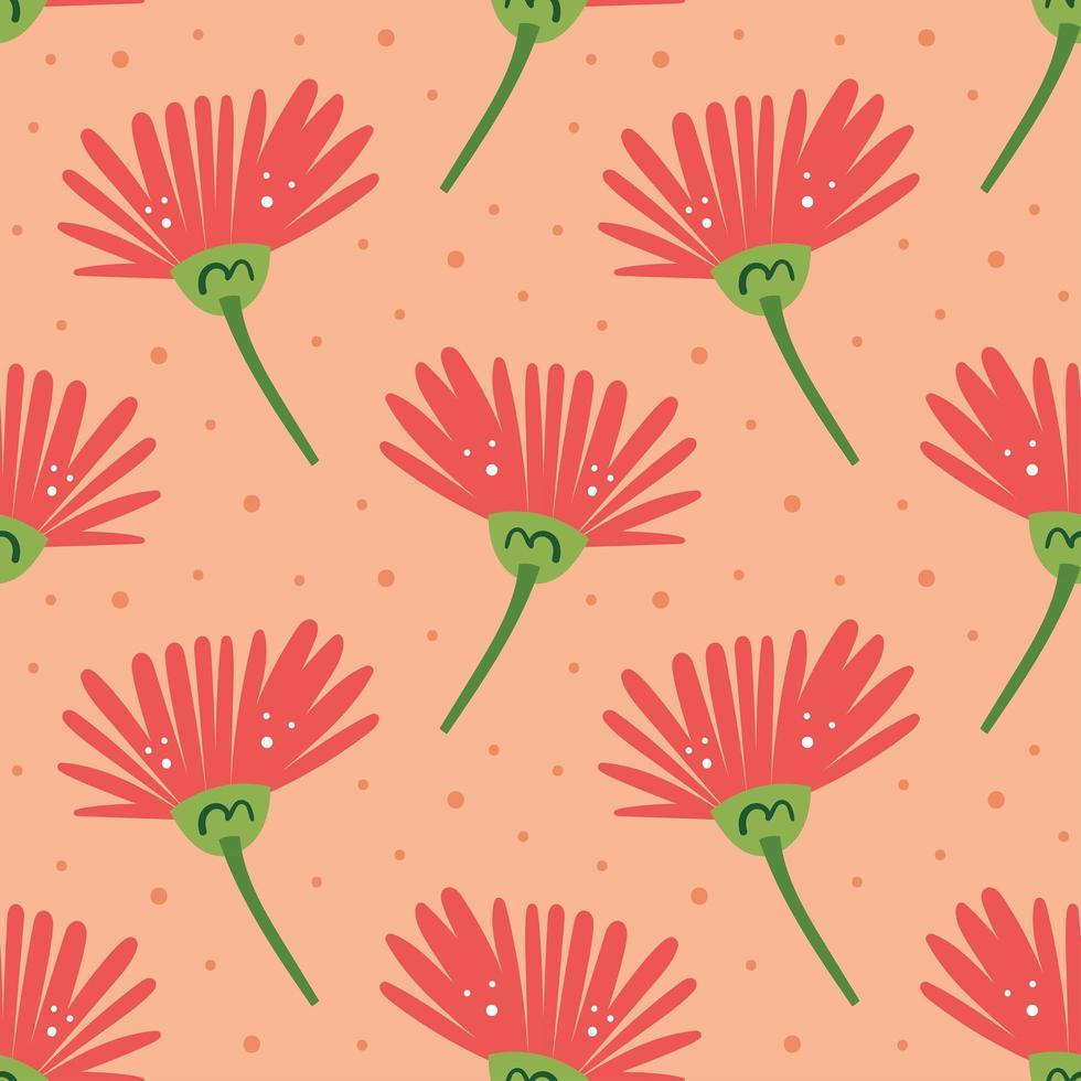 elementi naturali fiore rosa seamless pattern vettore