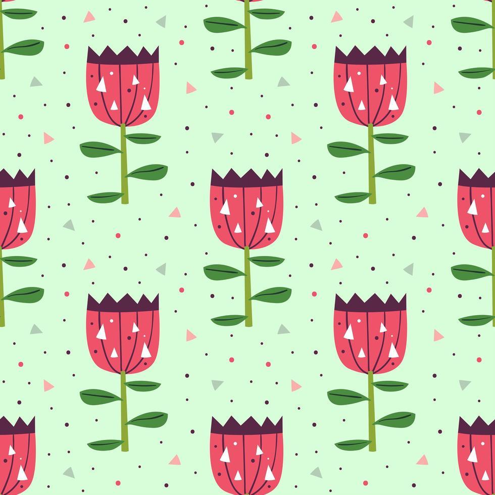 piccoli fiori rosa carini sul reticolo senza giunte verde vettore