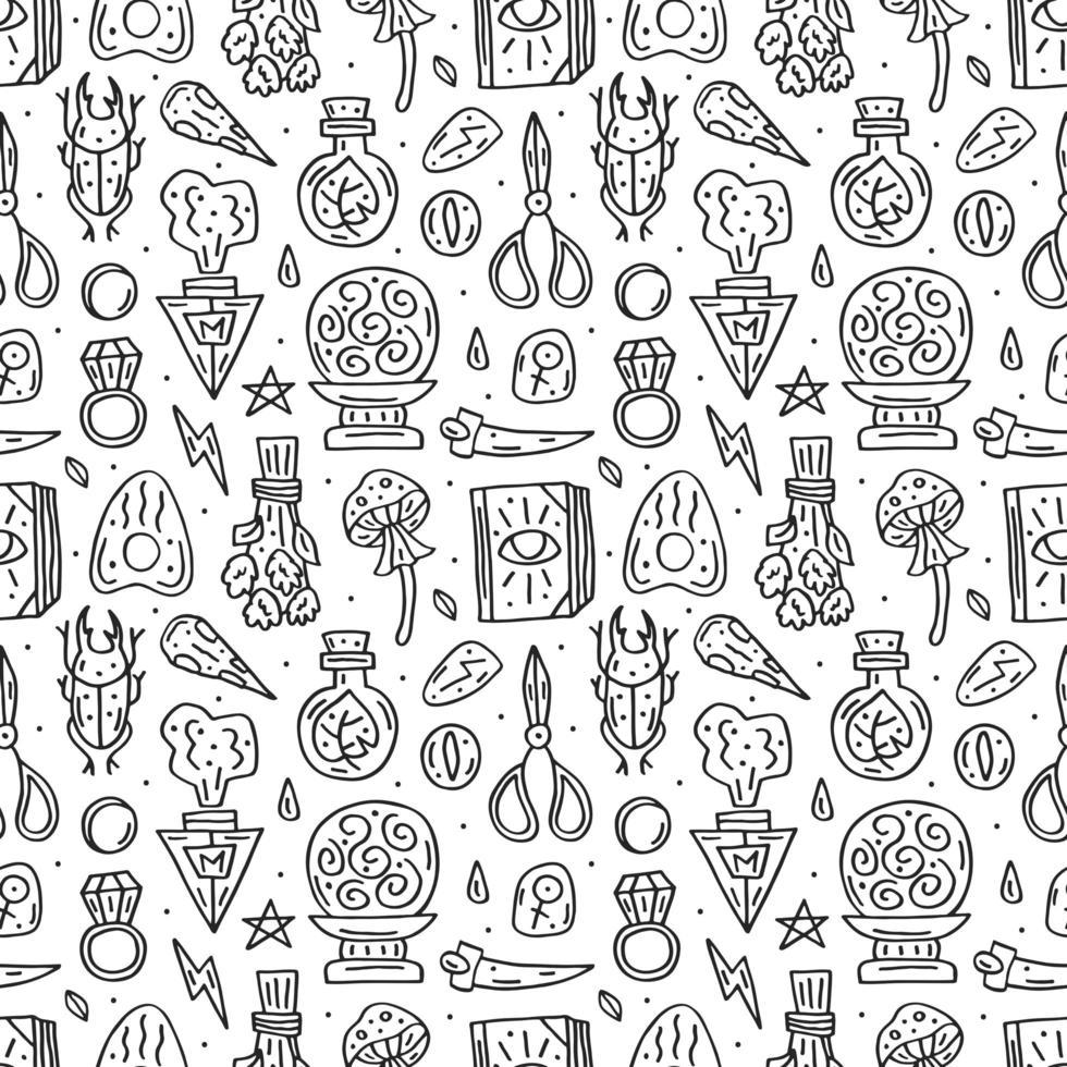 modello senza cuciture disegnato a mano di doodle di stile della linea di stregoneria vettore